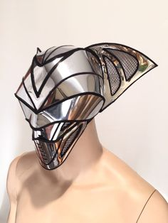 2 piece bat predator cyborg mask headpiece  , cylon sci fi  futuristic steampunk cyber headdress cybergoth divamp couture