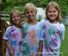 Come Together Kids: Fireworks T-shirts, need puffy paint and fabric paint watered down in spray bottle.
