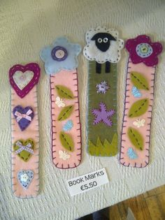Felt Bookmarks by Cottage Crafts Ireland.
