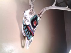 Whitetail Deer skull with hand beaded embroidery by cherylnchains