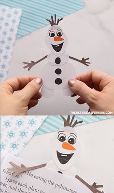 OLAF CRAFT - make this adorable Olaf craft as part of a Frozen birthday party! Make it as a paper craft or turn it into a bookmark! my Birthday OLAF CRAFT Winter Crafts For Kids, Christmas Crafts For Kids, Simple Christmas, Diy For Kids, Crafts To Make, Holiday Crafts, Summer Crafts, Fall Crafts, Easter Crafts