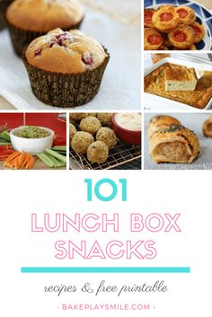 101 lunch box snacks and recipes... including 50 sweet recipes and 51 savoury recipes. Also includes a free printable to pop on your kitchen fridge!