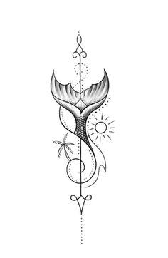 Mermaid Tail Tattoo, Small Mermaid Tattoo, Mermaid Tattoo Designs, Gemini Tattoo Designs, Tattoo Femeninos, Unalome Tattoo, Tattoo Drawings, Tattoo Sketches, Tattoo Quotes