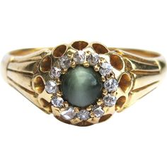 Cat's Eye Chrysoberyl & Rose Cut Diamond Victorian Unisex 18K Gold Cluster Ring - Birmingham, England - by gandsco on Ruby Lane.