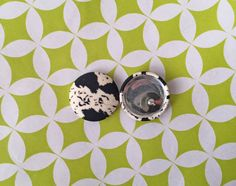 Fabric Button Earrings / Black and White / by ManhattanHippy