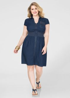 33e2ecd2851 Smocked Zip Front Denim Dress. Curvy FashionFashion 2016Plus Size  FashionLove FashionAshley StewartSmock ...
