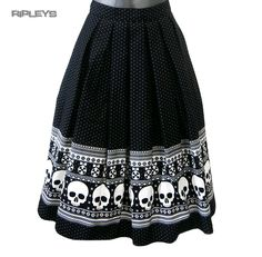 368ad32bd Details about Hell Bunny 50s Rockabilly Black Skirt CLARA Skulls Snowflakes