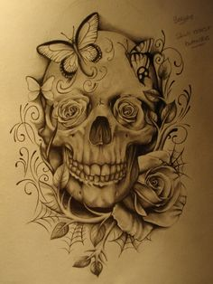 Skull with rose & butterflies... this would be really cool as a black & grey tattoo...