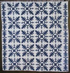 ANTIQUE-c1860-Applique-Oak-Leaf-Indigo-BLUE-White-QUILT-Civil-War-Era