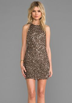 Perfect Holiday party Dress. PARKER Audrey Sequin Dress in Taupe #holidays #sparkle