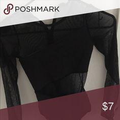 Long sleeve black leotard Black mesh long sleeve leotard zips up back Other