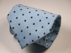 Geoffrey Beene MENS NECK TIE Necktie light blue black polka dot... Wild!