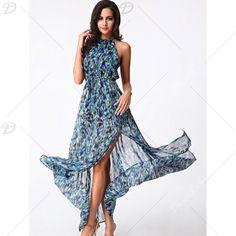 Bohemian Women's High Slit Printed Chiffon Dress - BLUE/GREEN S