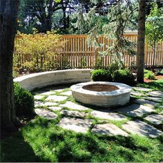 Eden seat wall and fire pit in flagstone patio