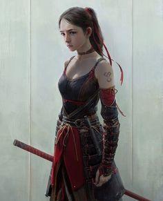 2017.4.4 by Jinglin Xu. : ReasonableFantasy Katana, female, fighter, girl, dark brown, hair, fair skin, samurai, armor.