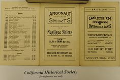 Can't Bust 'Em Overalls & Pants Price List, 1909