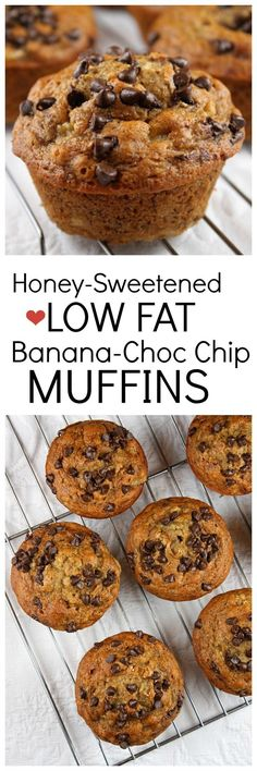 Honey-Sweetened, Low Fat Banana- Chocolate Chip Muffins recipe : nutritional information included. #eatclean #healthy