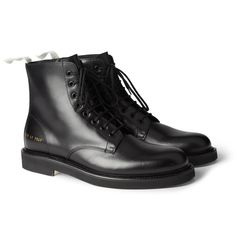 2a713f753ea Common Projects Leather Combat Boots Mens Designer Boots