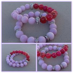 Pink and raspberry agate stretch bracelet set with pave accents by Vella&Ro House of Jewelry.