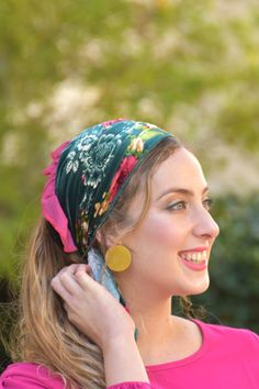 """🍀🌺These Head Coverings - """"Mitpachot"""" were created for covering all your hair, but can also be folded to show only some hair. Our fabrics are comfortable and of superior quality. Modest Wear, Modest Outfits, Modest Fashion, Hair Turban, Tie Headband, Scarf Hairstyles, Green Velvet, Head Coverings, How To Feel Beautiful"""