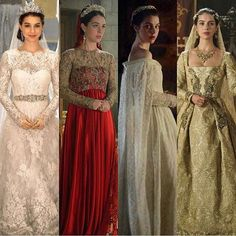 """3,670 curtidas, 52 comentários - Meredith Markworth-Pollack (@meredith_costumes) no Instagram: """"#tbt Mary's wedding looks over four seasons #reign #bridal #maryqueenofscots #costumes"""""""