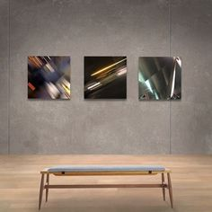 Three aluminum prints: Davita, Chapel Street and Dulles. Photography. The camera is a brush.