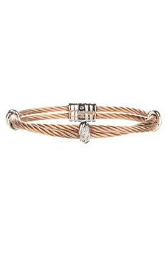 Diamond & Double Row Twisted Cable Bracelet