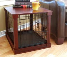 Dog Pet Cage Crate With Tray Mahogany Wood Cover Side Table - Small