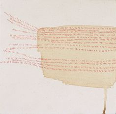 """from the collection of Fusako Nozaka, """"......."""" 2003. coffee and colored pencil on canvas, dots_detail"""