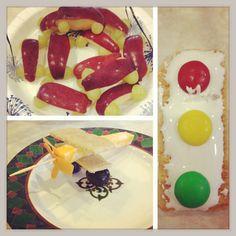 Fun preschool transportation snacks we made. Plane, car and stoplight