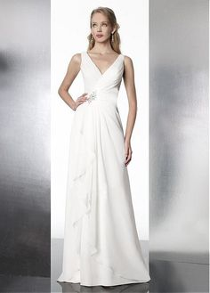 ELEGANT A-LINE V-NECKLINE NATURAL WAIST CHIFFON WEDDING DRESSES WITH BEADINGS LACE FORMAL PROM PARTY BALL GOWN CUSTOM