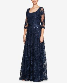 01f7d8d03ce Alex Evenings Petite Belted Sequined-Flower Gown   Reviews - Dresses -  Petites - Macy s