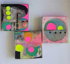 Original Abstract Paintings x 3 Mixed Media Acrylic on Canvas Collage triptych miniature square Neon Colorful pink