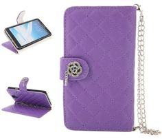 myLife Amethyst Purple Rhinestone Flower {Luxurious Design} Faux Leather (Card, Cash and ID Holder + Magnetic Closing) Slim Wallet for Galax...