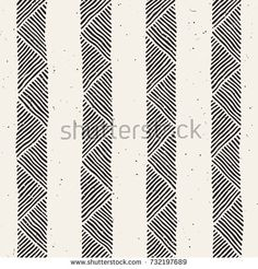 Hand drawn style ethnic seamless pattern. Abstract geometric tiling background in black and white.