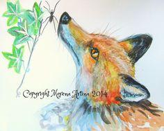 MORENA ARTINA Original contemporary PAINTING Large 14 x 11 inches Nosey Fox