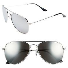 A.J. Morgan 'Chris' 57mm Sunglasses (£17) ❤ liked on Polyvore featuring accessories, eyewear, sunglasses, silver, mirrored aviator sunglasses, mirrored lens sunglasses, mirror glasses, lens glasses and aviator style sunglasses