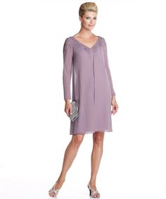 Elegant knee length lavender dress for mother of the bride 2014 by Mon Cheri