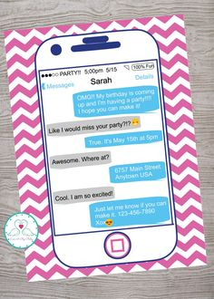 iPHONE cell phone teen tween birthday party invitation. printable. digital download by LoveAByeBaby on Etsy