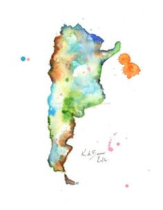 Argentina Map - Watercolor Print of Map Watercolor Map, Watercolor Illustration, Washington State Map, Argentina Map, German Tattoo, Epson Inkjet Printer, Pigment Ink, 1, Fine Art