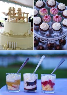 beach themed wedding cake and mixed desserts