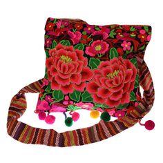 Bunte Hippietasche, Lotusblumen, breiter Träger von RaiKa Country House auf DaWanda.com