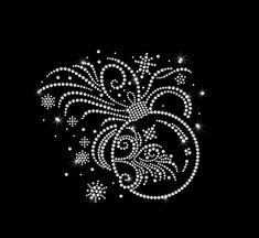 Ornament Scroll Spays Iron on HotFix Rhinestone Bling Holiday Heat Transfer Applique by MyCreativeOutletTime on Etsy