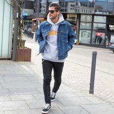 Skatewear. Macho Moda - Blog de Moda Masculina: SkateWear: 5 Itens que estão em alta pro Visual Masculino. Moda Masculina, Roupa de Homem, Roupa de Skate Masculina, Roupa de Skate para Homens, Moda para Homens, Jaqueta Jeans, Moletom Thrasher Cinza, Calça Skinny Jeans Preta, Vans Old Skool Preto