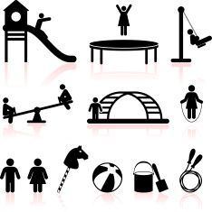 playground black and white royalty free vector icon set vector art illustration