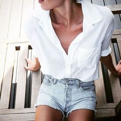 white button-down + denim shorts
