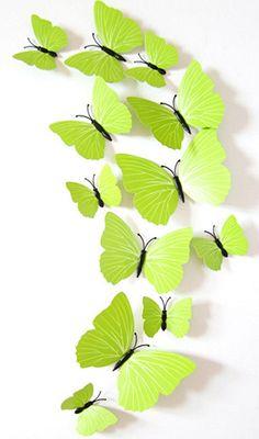 Kleurrijke 3D vlinders groen. Bestel ze eenvoudig en snel in onze webshop www.stickerkamer.nl