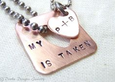 Couple Necklace Set  Copper Taken Heart   by drakedesignsjewelry, $40.00