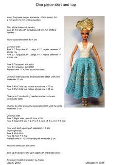 Barbie Clothes Patterns, Crochet Barbie Clothes, Doll Clothes Barbie, Barbie Dress, Barbie Doll, Barbie Knitting Patterns, Knitted Doll Patterns, Knitting Dolls Clothes, Knitted Dolls
