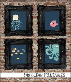 How cute would this be in the kids' bathroom or playroom?! Peonies and Poppyseeds: Free 8x10 Ocean Printables